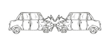 Accident of two cars sketch Stock Image
