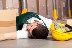 Accident in warehouse Stock Photo