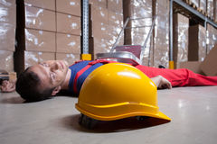 Accident in a warehouse Royalty Free Stock Photos