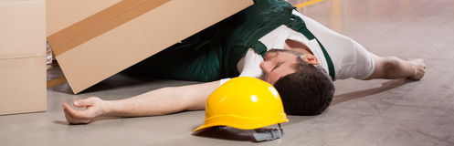 Accident in warehouse stock photos