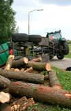 Accident With Tractor And Tree Stumps Royalty Free Stock Photos