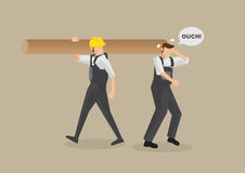 Accident at Work Vector Illustration. Cartoon man without work helmet gets hit on the head by worker carrying log on shoulder. Vector illustration on workplace Stock Image