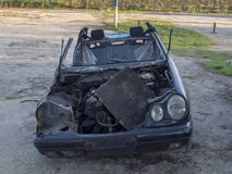 After accident wreck car parked safe place. For service takeing royalty free stock photos