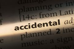 Accidental. Word in a dictionary.  concept stock images