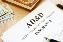 Accidental Death Benefit And Dismemberment ad&d insurance. Accidental Death Benefit And Dismemberment ad royalty free stock photo