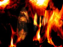 Accidental Fire. A conceptual image of a person trapped in an airplane crash fire Stock Photography