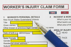 Accidental Injury Claim Form Stock Photo