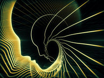 Accidental Soul Geometry. Geometry of Soul series. Backdrop composed of profile lines of human head and suitable for use in the projects on education, science Royalty Free Stock Photo