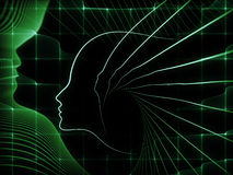 Accidental Soul Geometry. Geometry of Soul series. Backdrop composed of profile lines of human head and suitable for use in the projects on education, science Stock Photo