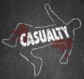 Accidente con lesiones lastimado del cadáver del esquema de la tiza de la muerte Fotos de archivo libres de regalías