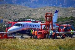 Accidente de avi?n en el aeropuerto de Alicante imagenes de archivo