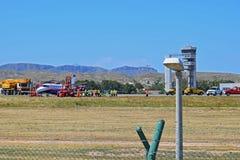 Accidente de avi?n en el aeropuerto de Alicante foto de archivo