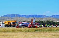 Accidente de aviones en el aeropuerto de Alicante imagen de archivo libre de regalías