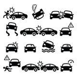 Accidente de carretera, choque de coche, iconos de los daños corporales fijados ilustración del vector