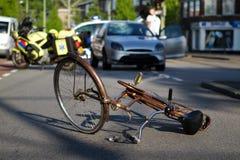 Accidente de carretera de la bicicleta Foto de archivo