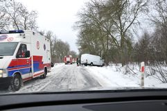 Accidente de carretera - Polonia Fotografía de archivo