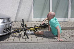 Accidente de la bicicleta Imagenes de archivo
