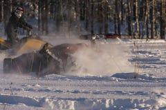 Accidente de la moto de nieve Fotografía de archivo libre de regalías