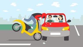 Accidente de tráfico con la moto ilustración del vector