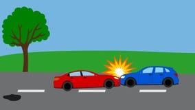 Accidente de tráfico en el camino Imagenes de archivo