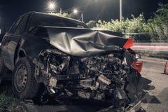 Accidente de tráfico de la noche Foto de archivo libre de regalías