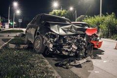 Accidente de tráfico de la noche Imagen de archivo libre de regalías