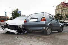 Accidente de tráfico pesado del daño fotografía de archivo