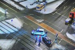Accidente de tráfico en la nieve Fotos de archivo libres de regalías