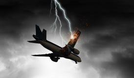 Accidente del aeroplano Técnicas mixtas imagen de archivo libre de regalías