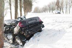 Accidente del choque de coche del invierno Fotografía de archivo