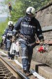 Accidente del desplome de tren de los bomberos Imágenes de archivo libres de regalías