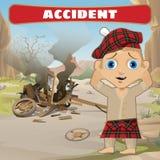 Accidente en el camino, carro y compboy rotos libre illustration