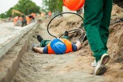 Accidente en una construcción de carreteras Fotografía de archivo libre de regalías
