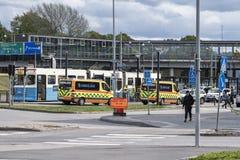 Accidente en una tranvía en Mölndal, Suecia imagenes de archivo