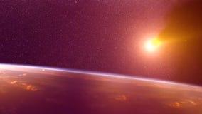 Accidente global - colisión de un asteroide con la tierra Meteorito que calienta para arriba como él caída en la atmósfera del `  foto de archivo