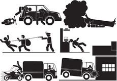 Accidentes y robo Imagen de archivo libre de regalías