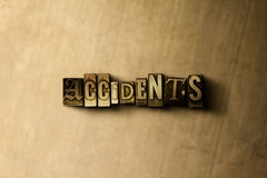 ACCIDENTS - close-up of grungy vintage typeset word on metal backdrop Stock Photography
