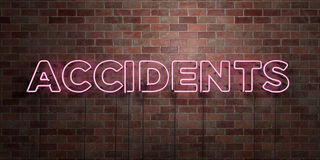 ACCIDENTS - fluorescent Neon tube Sign on brickwork - Front view - 3D rendered royalty free stock picture Royalty Free Stock Photos