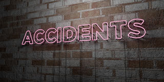 ACCIDENTS - Glowing Neon Sign on stonework wall - 3D rendered royalty free stock illustration Royalty Free Stock Images