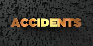 Accidents - Gold text on black background - 3D rendered royalty free stock picture Stock Photo
