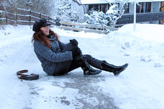 Accidents in icy roads. Winter - Accidents in icy roads Royalty Free Stock Photo