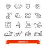 Accidents and Insurance. Thin line art icons set Stock Photography
