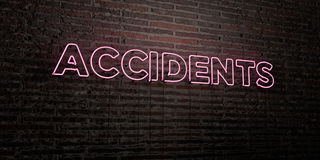 ACCIDENTS -Realistic Neon Sign on Brick Wall background - 3D rendered royalty free stock image Royalty Free Stock Photography