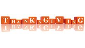 Acción de gracias en los cubos 3d Fotos de archivo libres de regalías