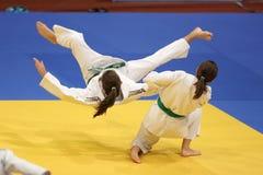 Acción del judo Foto de archivo