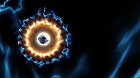 Accione el fuego y la corriente de la energía en la acción alrededor de balón de fútbol Imagen de archivo