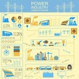 Accione la industria energética infographic, sistemas eléctricos, fije el elemento ilustración del vector