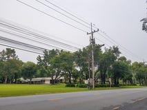 Accione la línea eléctrica al lado de la calle rural con el césped de la hierba y los árboles grandes Fotografía de archivo libre de regalías