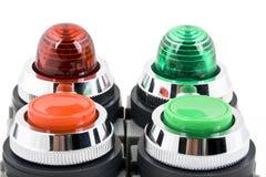 Accione la luz del botón y de indicador de estatus foto de archivo