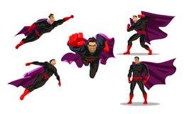 Acciones cómicas del super héroe en diversas actitudes Personajes de dibujos animados masculinos del vector del superhéroe Ilustr ilustración del vector